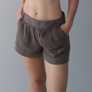 Tan Mocha Satin Tailored Dress Trouser Shorts Silk
